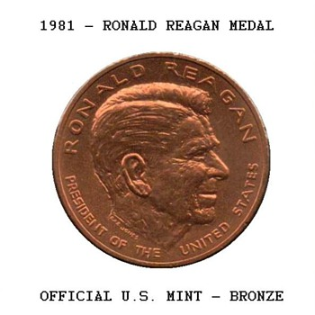 1981 - Ronald Reagan Bronze Medal - US Coins