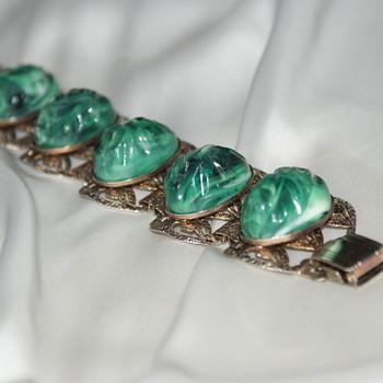Vintage Plastic Metal Bracelet - Costume Jewelry