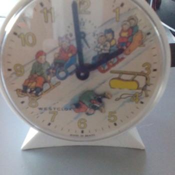 westclox animated key wind alarm clock - Clocks