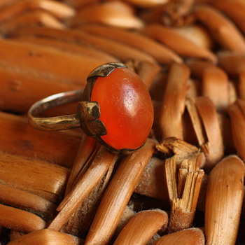 Art deco silver and carnelian ring - Fine Jewelry