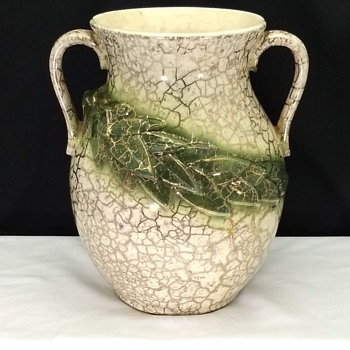 Vintage McCoy Pottery 24k Gold Overlay Trim Grecian Double Handle Vase - Pottery