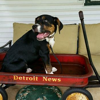 Vintage Detroit News Paper Boy Wagon - Toys