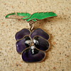 Sterling Silver and Enamel Pansy Pendant Brooch....Before and After