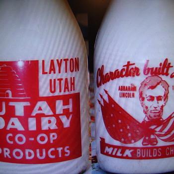 Unusual Abraham Lincoln Slogan Milk Bottle.....