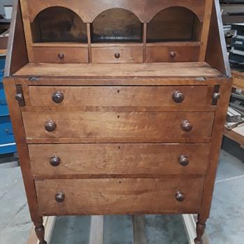 antique walnut drop-front secretary (#2, more pics) - Furniture