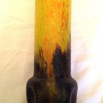 Czech :  Chipped Ice / Glue Chip Yellow and Blue Cylinder Vase - Art Glass