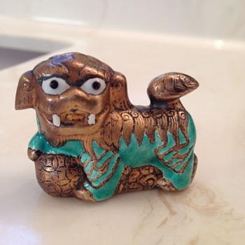 Small Metal Foo Dog - Green - Asian