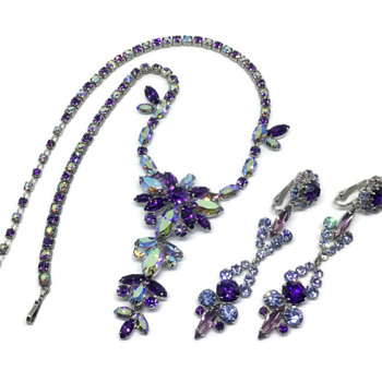 Sherman Shades of Lavender Earrings & Necklace - Costume Jewelry