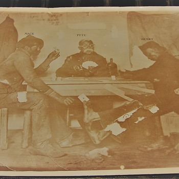 Old Black American Photograph of guys playing Crds and Cheating  - Photographs