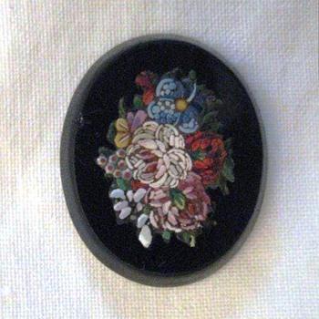 Fine Micro Mosaic Flower Plaque  - Fine Jewelry