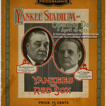 Rare 1923 Yankee Stadium Opening Day Program & 2 Tickets to the Game - Baseball