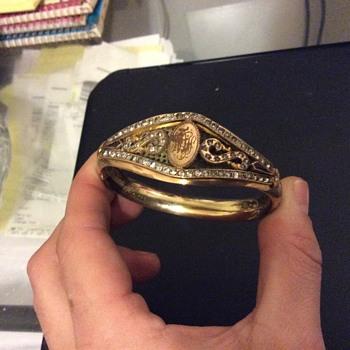Antique Womans Gold-Diamond- Bracelet - Gold