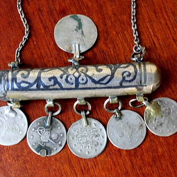 Antique Middle Eastern Prayer Box and Coin Necklace - Fine Jewelry