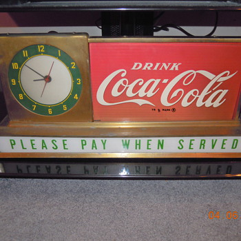 1950's  Coca-Cola Light-up Counter Sign by Price Bros.
