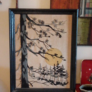 Large Framed Needlework - Winter Scene - Folk Art