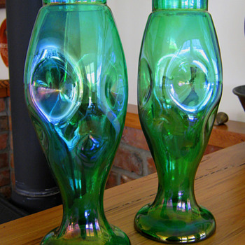 FABULOUS PAIR OF KRALIK VASES or? Carl Stölzle.. - Art Glass