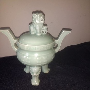 Foo dog Male standing ball, Incense burner lidded bowl, celadon green 'censer' and would be used to burn incense