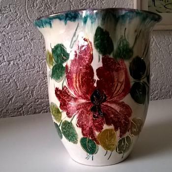 Vintage Flowered Vase, Unusual. - Pottery
