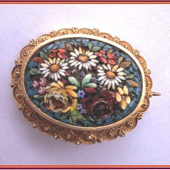 Micro Mosaic Flower Brooch 14K  Etruscan style gold  - Fine Jewelry