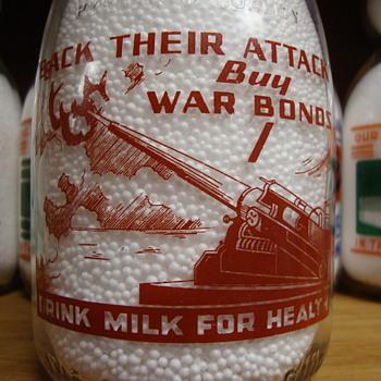 WILSON & SONS DAIRY...DETROIT MICHIGAN...WAR SLOGAN MILK BOTTLE - Bottles