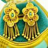 Antique Victorian Turquoise Tassel 14k Rose Gold Earrings