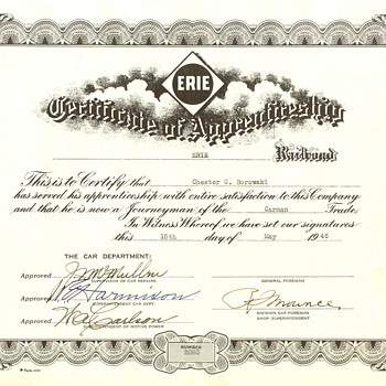 Certificate of Apprenticeship - Railroadiana