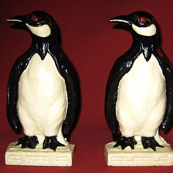 1930's Cast Iron Penguin Bookends - Books