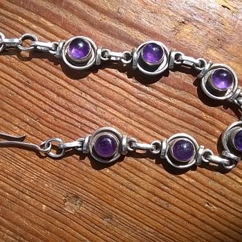 Sterling Silver/Amethyst Cabochon Bracelet Flea Market Find $2 - Fine Jewelry
