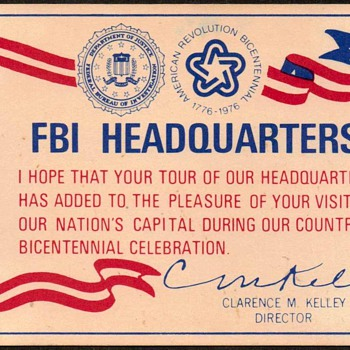 1976 - FBI Headquarters Tour Souvenir - Paper