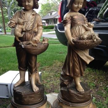Harvey Davis, Boy & Girl, kitten lamps - Lamps