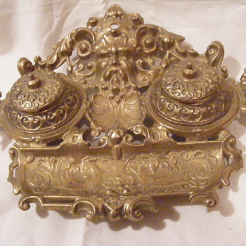 Gold Desk Organizer with Ink Wells - Face - Office