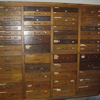 Antique Oak Tool Cabinet (56 Drawers) - Furniture