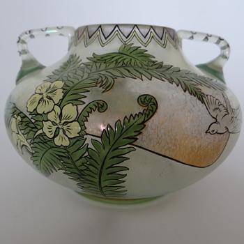 "Vase with handles ""Goldzypern"" - Fritz Heckert  - Art Glass"