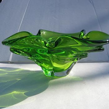 Chalet Lime green art glass bowl - Art Glass