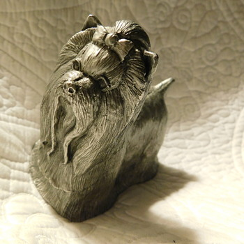 Vintage HEAVY Solid Pewter Dog Sculpture Figurine Paperweight Exquisite Maltese Marked - Animals