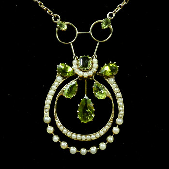 Peridot and Pearl Necklace by Archibald Knox for Liberty & Co - Arts and Crafts