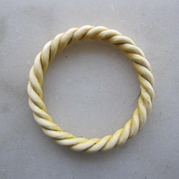 Bone or ivory carved bracelet w/gold wire for Freiheit - Fine Jewelry