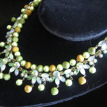 Fabulous Vintage Kraemer Rhinestone , Faux Pearl + Bead Necklace - Costume Jewelry