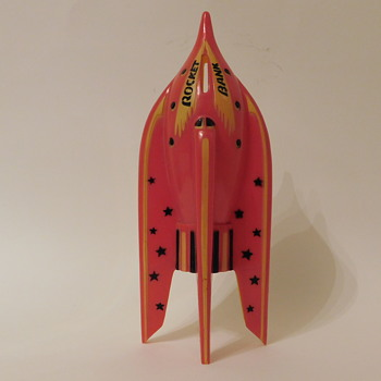 "1950'S Plastic ROCKET BANK 10"" Fosta USA - Coin Operated"