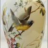 BIG BOHEMIAN HAND PAINTED BIRD VASE ( HARRACH ?)