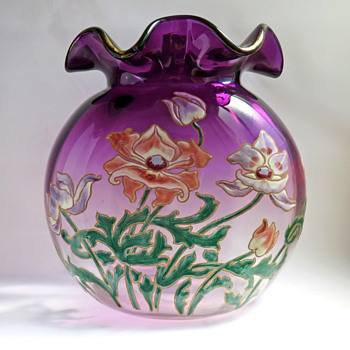 Large Enameled Legras Saint-Denis Vase with Anemones in 'Violetinne' Glass - Art Glass