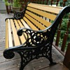 Antique iron and wood park bench