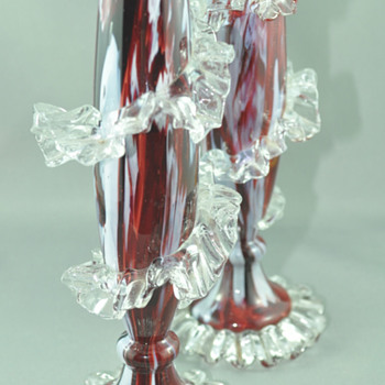 Antonin Rückl & Sons / Ruckl Bohemian Vase, Red Lined Glass with Oxblood Red & White Spatter Decor - Art Glass