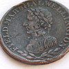 Two Old Tokens-Field Marshal Wellington Half Penny & 1820 Irish? Token
