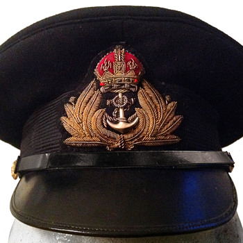 Royal Navy officer's hat with brass buttons