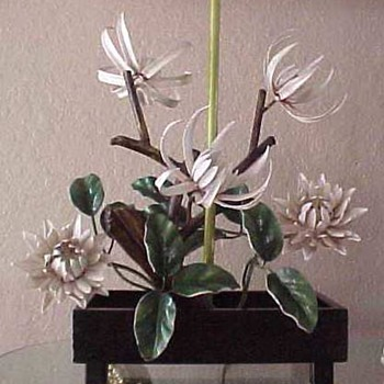 Fabulous post 40's painted iron lamp bonsai form