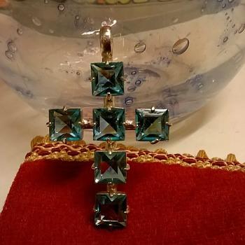 Antique/Flea Market Find - Sterling Silver & Blue Crystal Cross $2.00