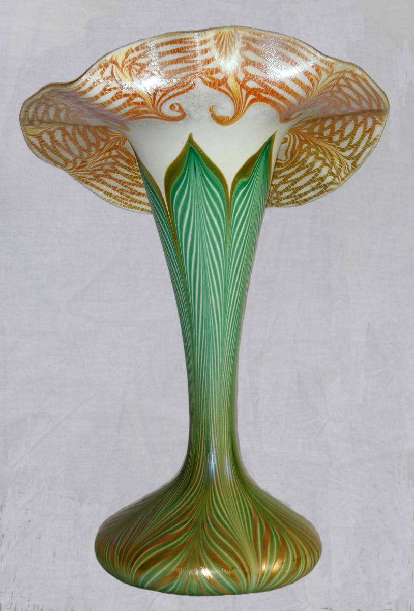 Quezal pulled feather jack in the pulpit vase collectors weekly reviewsmspy