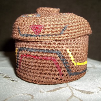 Alaskan Tlingit Knob Top Woven  Trinket Basket by Dorrie Jackson - Native American
