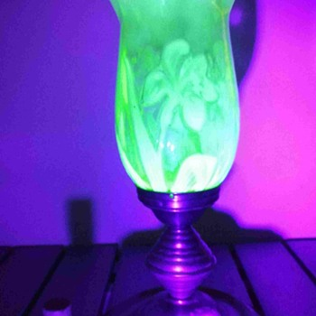 uranium glass gas lamp - Art Nouveau